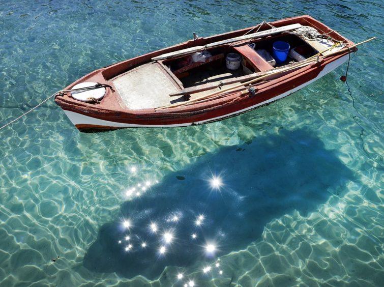 Halkidiki boat on sea