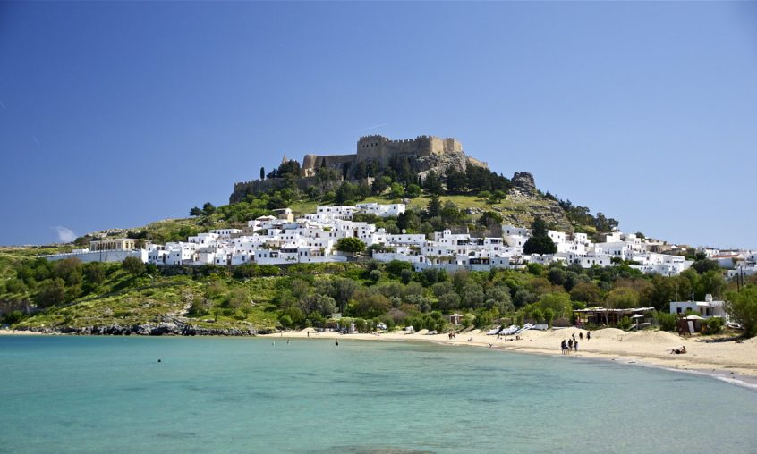 Lindos Rhodes view of island and sea