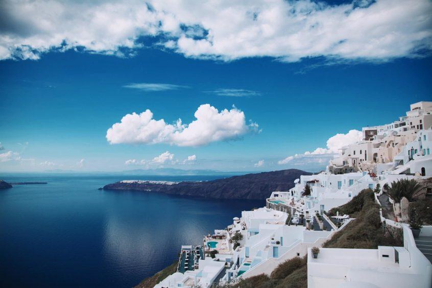 Santorini Greece, view of buildings, sea and sky