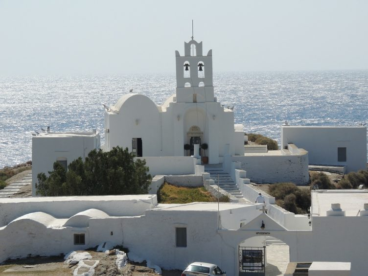 Sifnos Greece all white church and sea