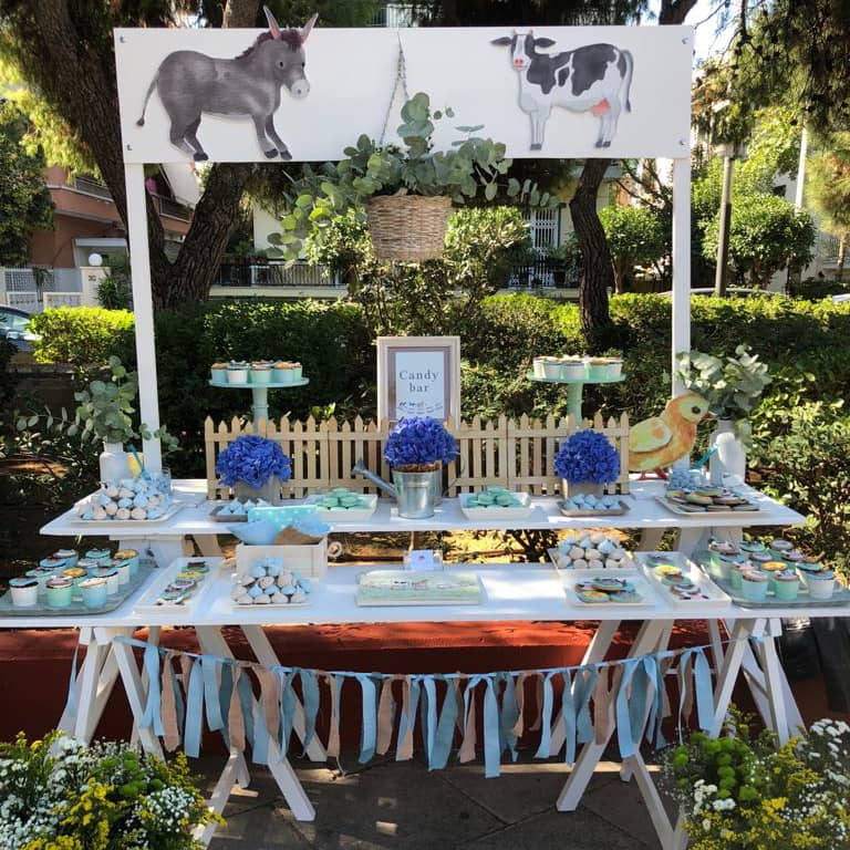 Animals of the farm inspired candy bar with blue and light blue colours and treats. boy's baptism ideas