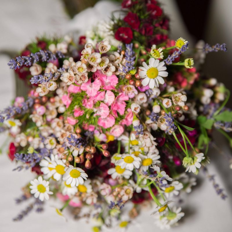 Spring flower bouquet for a spring wedding in Greece.