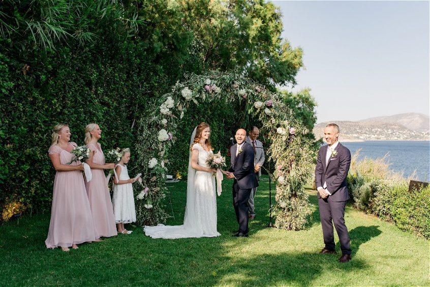 Garden ceremony for a wedding in Greece