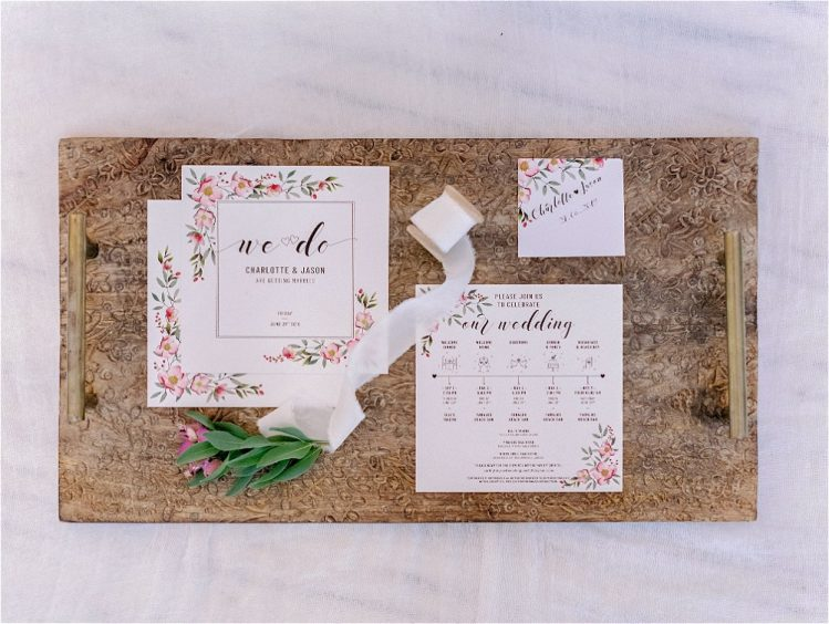 wedding invitations for a couple getting married in Greece