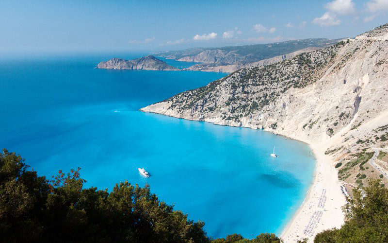 top view of a beach in Kefalonia