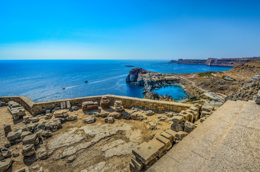 Lindos Rhodes Greece archaelogical and sea view