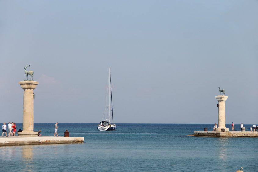 Mandraki harbour Rhodes view