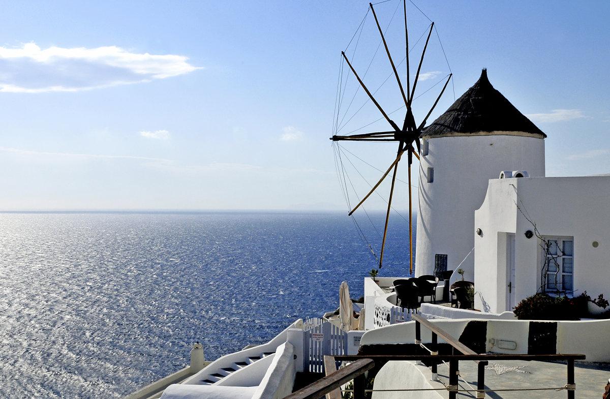 Santorini sea view and windmill