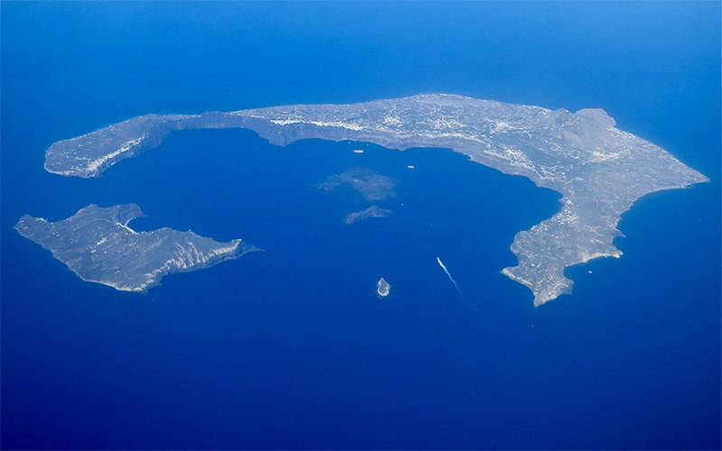 Aerial photo of Santorini island