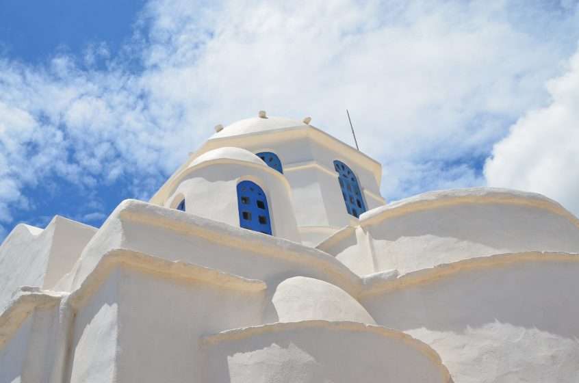 seven martyrs church at sifnos church and sky view