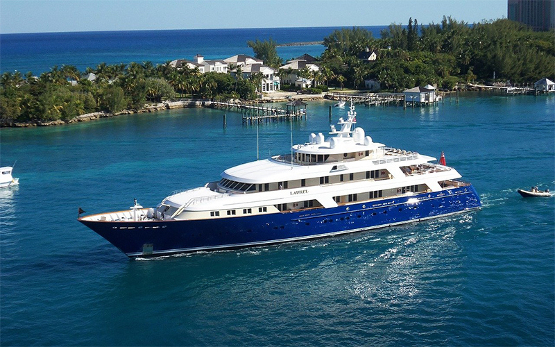 aerial photo of a yacht