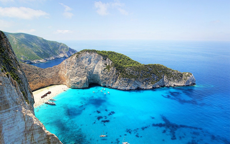 Famous beach on Greek island Zante
